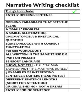 Writing a fable checklist clip
